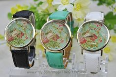 Flower Watch Vintage Style Leather Watch Women by TheGiftWorld, $5.50 Personalized fashion flower watches,best gift of friendship.