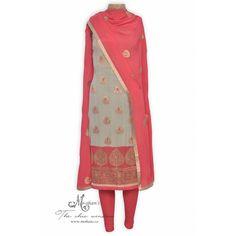 Elegant grey and gajari unstitched suit adorn in zari motifs-Mohan's the chic window