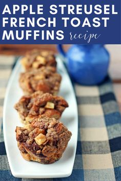 Check out these low-calorie, high-taste apple streusel french toast muffins! This is an easy recipe and perfect for breakfasts during autumn! #fallfoods #fallrecipes #applebreakfasts