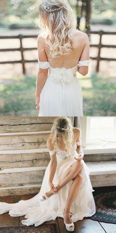 A-Line Sweetheart Floor-Length White Chiffon Beach Wedding Dress, beach boho wedding dresses, simple off the shoulder bridal gowns #bridal