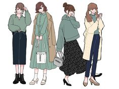 Kpop Fashion Outfits, Anime Outfits, Anime Girl Dress, Arte Sketchbook, Clothing Sketches, Korean Girl Fashion, Cute Art Styles, Fashion Design Sketches, Japanese Outfits