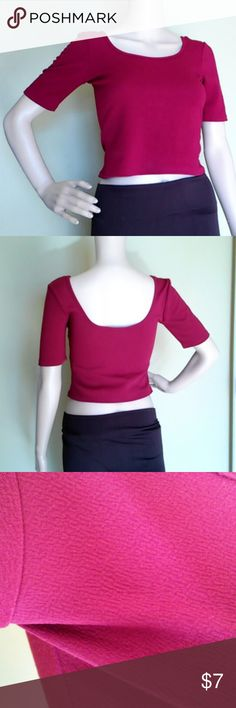 NWOT Red Crop Top NWOT, super cute red/burgundy crop top with low cut back. Has a textured fabric. See photos for measurements and tag info.   Feel free to send a reasonable offer or bundle and save 10% on my closet! About A Girl Tops Crop Tops