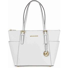 Michael Kors Jet Set Top-Zip Saffiano Leather Medium Tote in Optic... (635 PEN) ❤ liked on Polyvore featuring bags, handbags, tote bags, saffiano leather handbags, michael kors purses, tote handbags, white handbags and white purse