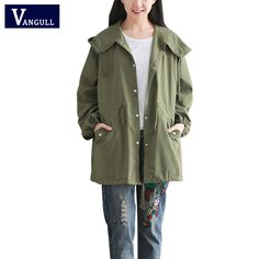 >> Click to Buy << Spring Autumn Windbreaker For Women Trench High Quality Coat Hooded Cotton Long Casual Female Green Casual Coat #Affiliate