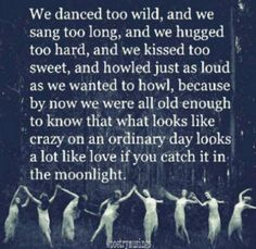We danced too wild, and we sang too long, and we hugged too hard, and we kissed too sweet, and howled just as loud as we wanted to howl, because by now we were all old enough to know that what looks like crazy on an ordinary day looks a lot like love if you catch it in the moonlight.