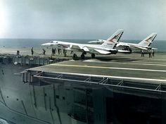 """North American Vigilante (BuNo of Heavy Attack Squadron """"Smokin' Tigers"""" being readied for launching from the aircraft carrier USS Saratoga during operation """"Long Horn"""". Us Navy Aircraft, Us Military Aircraft, Military Jets, Military Life, Navy Carriers, Air Machine, Navy Marine, Marine Corps, Flight Deck"""