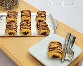 1:12 Scale Miniature. 2 Chocolate Croissants. Dollhouse Miniature Food