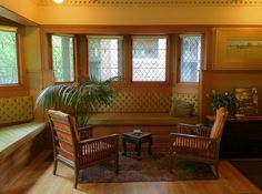 FLW - Frank Lloyd Wright - Livingroom - Arts & Crafts - Craftsman - Furnitire -  Interior - Design