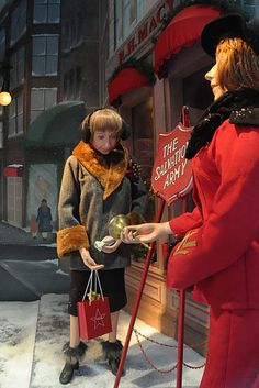 Soliciting Donations for the Salvation Army | Christmas Window Display and Store Front Ideas | arkansasconstruction.co and Facebook.com/cni.arkansas