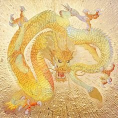 Dragon in prosperous GOLD Dragons, Samurai Art, Dragon Design, Chinese Dragon, Science Fiction Art, Dragon Art, Asian Art, Japanese Art, Painting Prints