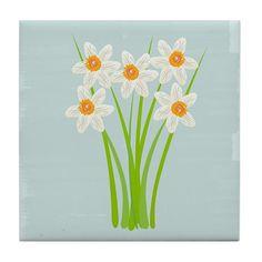 Cute White Daffodils Flowers Tile Coaster #daffodils $10.99