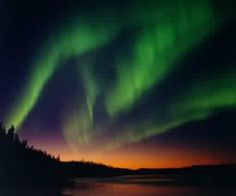 Northern lights at sunset.