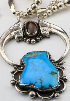 Amazing Fire Agate and Turquoise Navajo Bead Claw Naja Sterling Necklace