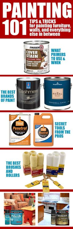 Painting 101 {for furniture, walls and more Add penetrol to oil based paints to reduce brush and roller marks, add floetrol to latex. Other painting tips here.
