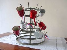 Vintage French Bottle Drying Rack