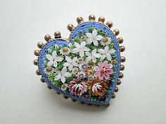 MICRO MOSAIC BROOCH SHAPED AS A HEART MARKED AP C. 1900