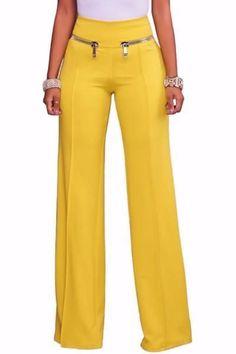 Womens Yellow Gold Zipper Detail High Waist Palazzo Pants - (US Trousers Women, Pants For Women, Clothes For Women, Outfit Elegantes, Fashion Pants, Fashion Outfits, Fall Fashion, Fashion Trends, Yellow Pants