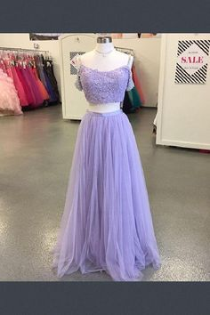 88a016952d10 Discount Easy Two Pieces Elegant Two Piece Lavender Tulle Prom Dress,Spaghetti  Strap Applique Beaded Evening Dress. Light Purple ...