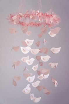 Pink Girl Nursery- Bird Mobile, Nursery Decor, Baby Girl Shower GIft, Wedding Decor. $54.00, via Etsy.