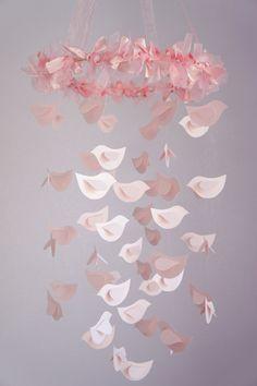 Pink Girl Nursery- Bird Mobile, Nursery Decor, Baby Girl Shower GIft, Wedding Decor. $63.00, via Etsy.