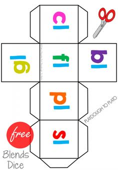Free Blends Cards and Dice - Playdough To Plato Jolly Phonics, Teaching Phonics, Phonics Activities, Kindergarten Literacy, Teaching Reading, Teaching Kids, Kids Learning, Preschool, Physical Activities