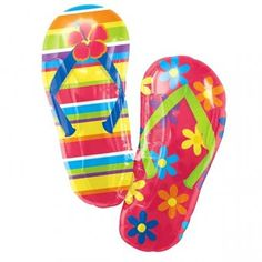 Flip Flop Supershape Balloon.    Size: 33inches x 25inches (84cm x 64cm).    Requires helium inflation.