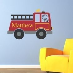 Firetruck Personalized Decal - Boy & Name Vinyl Wall Art - Children Wall Decals. $35.00, via Etsy.