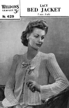 Vintage Ladies Bed Jacket Knitting Pattern 1950 by LittleJohn2003, $3.00