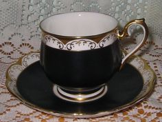 Royal Albert Black Satin Teacup Set | eBay