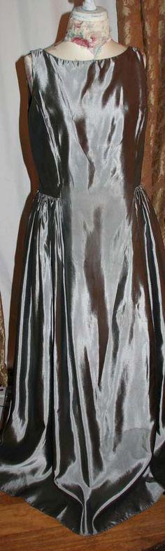 Jessica McClintock Silver Taffeta Ball Gown Formal Dress Prom Evening Size 16     169.99