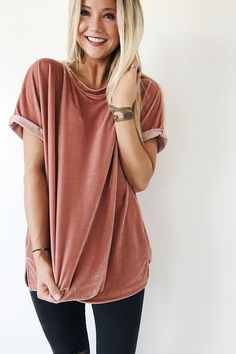 Velvet Tee in Ginger | ROOLEE- this site has the cutest clothes