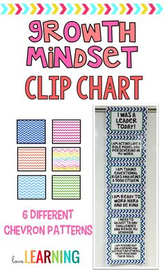 I have always loved having a clip chart in my classroom because it helps me focus on positive behaviors while encouraging students to revise their negative behaviors. This year, I am taking my clip chart further with Growth Mindset terminology. This clip chart allows me the opportunity to encourage positive behaviors, perseverance, and leadership skills. I have included six different chevron colors.