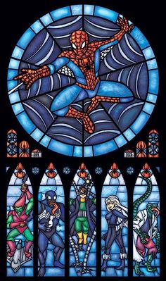 Spiderman stained glass art via www.Facebook.com/DisneylandForMisfits