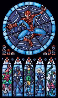 Spiderman stained glass art via www.Facebook.com/DisneylandForMisfits