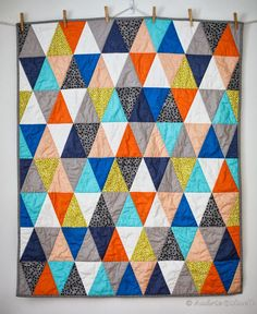 Blue is Bleu: Autumn Sunrise Triangle Quilt