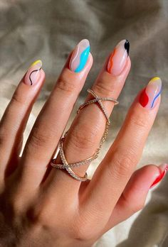 52 Pretty Short Almond Nails Make You Excited This Summer - Latest Fashion Trends For Woman Almond Acrylic Nails, Simple Acrylic Nails, Summer Acrylic Nails, Simple Nails, Almond Nail Art, Spring Nails, Cute Easy Nails, Summer Nail Art, Winter Nails