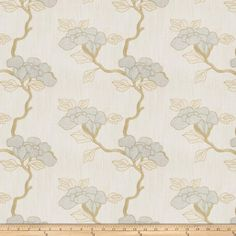 Mount Vernon Asian Floral Linen Stream Fabric