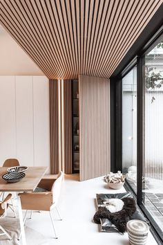 Interior inspiration for modern interior design in livingroom, bedroom, hallway and office. Wooden wall and ceiling decoration for house inspo. Modern Interior Design, Interior Architecture, Interior Cladding, Ceiling Design, Ceiling Decor, Dining Room Design, Room Interior, Home And Living, Living Room