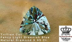 Fancy Light Greenish  Blue  Trillion Cut  Diamond 9.95 Ct.  Estimated 1 million $ Price Per Carat.