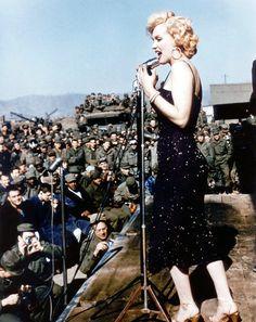 Marilyn Monroe Performing for Troops in the USO in Korea