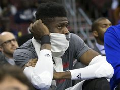 Nov. 18, 2015: A dejected Nerlens Noel can only watch helplessly from the bench as the final seconds wind down on another 76ers loss. Indiana rolled 112-85 to hand Philadelphia its 12th straight loss to start the year and 22nd straight overall dating back to last season.  Bill Streicher, USA TODAY Sports