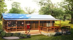 A two-bedroom cabin manufactured by General Shelters and distributed by Portable Buildings of Brenham. Shed To Tiny House, Tiny House Nation, Shed Homes, Cabin Homes, Portable Sheds, Portable Building, Homestead House, Small House Floor Plans, Country Kitchen Farmhouse