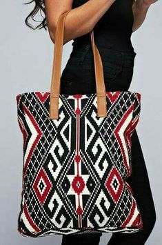 W 1 -Vibrant Red Black and Ivory Indie Style Aztec Print Tapestry Tote by Love Stitch Crochet Accessories, Bag Accessories, Mochila Crochet, Sac Week End, Tapestry Crochet Patterns, Tapestry Bag, Wall Tapestry, Boho Bags, Crochet Purses