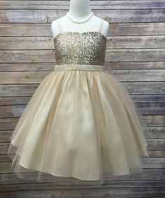 Look at this Precious Kids Champagne Sequin Overlay Dress - Toddler & Girls on #zulily today!