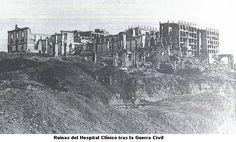 Ruinas del Hospital Clínico tras la guerra civil. Madrid.