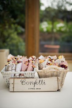 home-made confetti, cones and sign / http://www.deerpearlflowers.com/wedding-exit-send-off-ideas/
