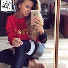 Thigh High Leggings - Black, Gray, White & Red