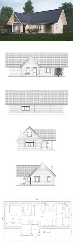 """Mountain Mini  Описание:  Проект мини, дом всего 68.7 кв.м., расчитан на постоянное проживание семьи из трех человек, маленькое, но вполне уютное жилье для небольшой семьи. Серия домов """"Mountain"""".  Проект создан компанией Home in the Woods.  Проекты этой серии отличаются удобной планировкой."""