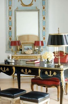 Glamorous and fancy office or study via The Gallery - Decotheca Home Office Design, Home Office Decor, Home Decor, Office Designs, Office Ideas, Trumeau Mirror, Mirror Trim, Antique French Furniture, Antique Desk