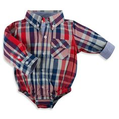 Beetle & Thread Long-Sleeve Plaid Shirtzie™ in Red/Blue